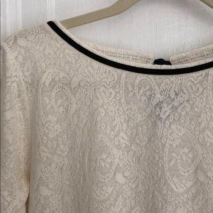 LOFT ivory lace shirt w/ black velvet ribbon trim